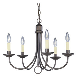 Progress Lighting - Progress Lighting P4008-20 5-Light Chandelier with Matching Hand Painted Candle - Progress Lighting P4008-20 5-Light Chandelier with Matching Hand Painted Candle Sleeves