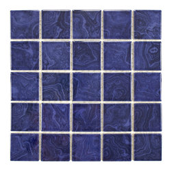None - SomerTile 12x12 Paradise Marine Blue Porcelain 0.188-in Mosaic Tile (Pack of 10) - This tile is the perfect accent to your outdoor area or for any indoor usage. This durable series may be used on any wall surface,on floors that receive light to medium foot traffic and in pools or showers.