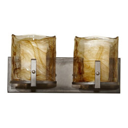 Murray Feiss - Murray Feiss Aris Bathroom Lighting Fixture in Roman Bronze - Shown in picture: Aris Vanity Strip in Roman Bronze finish with Amber Alabaster �Glass