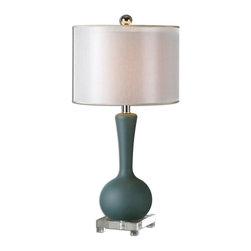 Joshua Marshal - Gray Glass And Brushed Aluminum Denisa Table Lamp With Cylinder Shade - Gray Glass And Brushed Aluminum Denisa Table Lamp With Cylinder Shade