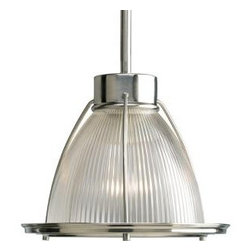 Progress Lighting Brushed Nickel One-light Mini-Pendant - This pendant feels industrial, yet modern with ribbed glass and brushed nickel finish. I'd like to see this over a bathroom sink.
