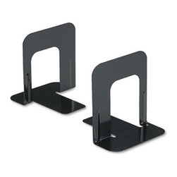 Universal - Economy Bookends, Nonskid, 4 3/4 X 5 1/4 X 5, Heavy Gauge Steel, Black - Reinforced bookends hold large and heavy books. Smooth edges and reinforced ribbing coated with a hard enamel finish. Nonskid padded base. Material(s): Heavy Gauge Steel; Color(s): Black; Finish: Hard Enamel.