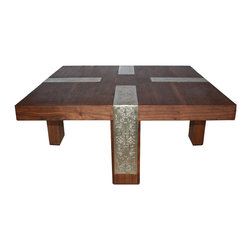 Badia Design Inc. - Metal and Wood Coffee Table from Morocco, Square - This modern Moroccan Coffee Table is made of solid wood and decorated with hand-hammered gold colored metal. It is rectangular in shape and will fit in just about any dining room, living room or patio setting.