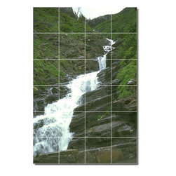 Picture-Tiles, LLC - Waterfalls Photo Shower Tile Mural 9 - * MURAL SIZE: 48x32 inch tile mural using (24) 8x8 ceramic tiles-satin finish.
