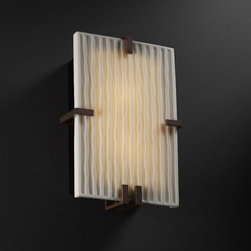 Justice Design Group - Porcelina Clips RectangleTwo-Light Fluorescent Dark Bronze ADA Wall Sconce - - (2) 13W lamps included. The top clip is removable for re-lamping. ADA.  - Shade Detail - Waterfall  - Shade Material - Faux Porcelain Resin Justice Design Group - PNA5551WFALDBRZ