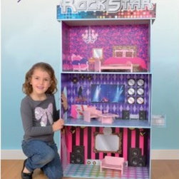 Fortune East Rock Star Dollhouse - Your little one's dream of being on the big stage will come true when she plays with the Fortune East Rock Star Dollhouse. This fun three-story dollhouse is constructed of durable wood and features all of the amenities a rock star would expect: stage, dance floor, recording studio, luxurious bedroom, and of course, walk-in closet. Hours of fun will be had acting out concerts and entertaining their fan club! Easily assembled. Accommodates dolls up to 12 inches.About Fortune EastSince 2002, Fortune East has been developing innovative products that allow children to experience beneficial play with activities that provide limitless joy, imagination, and creativity. This company specializes in designing and manufacturing high-quality wooden preschool toys, wood and cardboard dollhouses, along with furniture and accessories. Fortune East has established relationships with reliable manufacturers, and only works with factories that pass the highest ethical and quality control audits laid down by the top retailers around the world. All items Fortune East produces are in accordance with or exceed European and US standards.