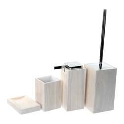Gedy - Wooden 4 Piece White Bathroom Accessory Set - Trendy white bathroom accessory set made from wood.