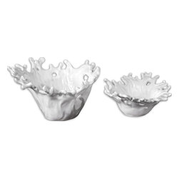 White Coral Decorative Bowls, Set of 2 - *These Decorative Bowls Feature A Smooth, Very Pristine, Gloss White Finish. Sizes: Sm-13x6x12, Lg-17x10x15