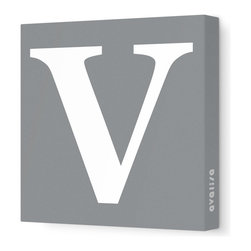 "Avalisa - Letter - Upper Case 'V' Stretched Wall Art, 12"" x 12"", Gray - Spell it out loud. These uppercase letters on stretched canvas would look wonderful in a nursery touting your little one's name, but don't stop there; they could work most anywhere in the home you'd like to add some playful text to the walls. Mix and match colors for a truly fun feel or stick to one color for a more uniform look."