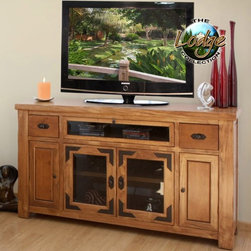 Artisan Home Furniture - Lodge Entertainment Rustic TV Console - Multi-step lacquer finish. Metal accents are oven treated and gives the occasional table a warm Lodge appearance. TV Stand is designed to hold most HDTS´s. Includes multi-functional media storage, capable of storing VHS, DVD, & CD all in one storage tray (1 tray on each side door) and 2 removable shelves behind center doors. Media drawers with full-extension ball-bearing glides and multiple shelves to organize DVD´s, CD´s. Crafted from selected hardwoods featuring Cottonwood and Alder. 62.25 in. W x 16 in. D x 35 in. H
