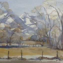 And Seasons Change (Original) by Gail Heffron - And Seasons Change is a philosophical piece of mine. This icy view was painted looking out my aging brother Raymond's window. He lived near Bear Lake, Idaho. It was beautiful and cold. I think it was 15 below zero. He was very ill and I was there to help him. Of course I was contrasting our childhood with this Season of aging and death. We were having a wonderful time reminiscing, even though he was approaching this unknown territory of dying. I was surprised there could still be beauty in this time that most people fear.