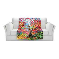DiaNoche Designs - Throw Blanket Fleece - Story of the Tree 59 - Original Artwork printed to an ultra soft fleece Blanket for a unique look and feel of your living room couch or bedroom space.  DiaNoche Designs uses images from artists all over the world to create Illuminated art, Canvas Art, Sheets, Pillows, Duvets, Blankets and many other items that you can print to.  Every purchase supports an artist!