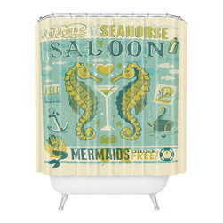 DENY Designs - Anderson Design Group Seahorse Saloon Shower Curtain - Who says bathrooms can't be fun? To get the most bang for your buck, start with an artistic, inventive shower curtain. We've got endless options that will really make your bathroom pop. Heck, your guests may start spending a little extra time in there because of it!