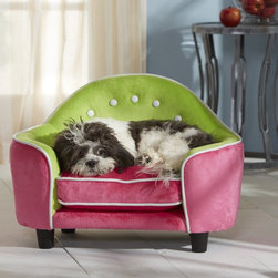 Enchanted Home Pet - Enchanted Home Pet Ultra Plush Headboard Pet Bed - Pink/Green - CO1908-13PNK - Shop for Beds Covers and Fill from Hayneedle.com! The playful color combination featured on the Pet Ultra Plush Headboard Pet Bed- Pink/Green reflects your pup's playful personality. The chic mod design boasts a contemporary lofted construction complete with curved arms and headboard sure to make a funky statement in your home. Your pooch will adore the extra plush cushion and warm fuzzy microfiber interior and you will love the easy-to-clean cushion which is removable and machine washable. The hidden storage compartment is perfect for keeping unsightly toys and treats out of view.