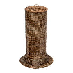 KOUBOO - Toilet Paper Roll Tower and Cover, Nito/Rattan, Brown - Keep your toilet paper rolls within reach when replacement is needed. This toilet roll tower woven from Nito, a vine similar but finer than Rattan, keeps up to three toilet paper rolls stowed away in style saving much needed storage space in your bathroom.