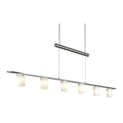 George Kovacs - Counter Weights Linear Suspension - Counter Weights Linear Suspension is available in a Brushed Nickel finish with Etched Opal glass. Six 20 watt, 12 volt JC type G4 base Krypton Xenon lamps are included. 2 inch width x 4.25 inch height x 47.25 inch length x 91.5 inch adjustable length.