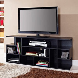 Walker Edison 60 in. Mod Style Wood TV Console - Black - Elegance and function combine to create the Walker Edison 60 in. Mod Style Wood TV Console - Black. This contemporary TV stand has a striking look and added height that make it a perfect fit for any entertainment area or even the bedroom. Its generous scale accommodates most flat-panel TVs up to 60 inches and it can hold up to 250 pounds. It has a variety of shelf sizes for multi-purpose display and electronic component storage. It's well-crafted of high-grade particle board and paper laminate in a deep black wood grain finish. A true multi-tasker, you can even turn this beauty on its side for a stylish bookcase. It comes ready-to-assemble with necessary hardware and tools for your convenience. About Walker EdisonSpecializing in quality furniture at low prices, Walker Edison Furniture Company manufactures a wide variety of furniture pieces for the North American marketplace. From bedroom furniture and desks, to coffee tables, dining tables, and TV stands, Walker Edison provides practical decor solutions for today's functional homes. With factories strategically located all over the world, Walker Edison balances cost with low-priced raw materials and skilled artisans to deliver smart furniture pieces that fit every budget.