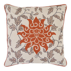 Surya Rugs - Red Clay Flower 18 x 18 Pillow - This large flower is complimented by small leaves. Colors of ecru and rust accent this decorative pillow. This pillow contains a poly fill and a zipper closure. Add this pillow to your collection today.  - Includes one poly-fiber filled insert and one pillow cover.   - Pillow cover material: 100% Cotton Surya Rugs - SI2000-1818P