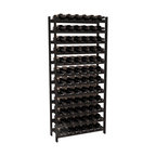 72 Bottle Stackable Wine Rack in Redwood with Black Stain - Four kits of wine racks for sale prices less than three of our 18 bottle Stackables! This rack gives you the ability to store 6 full cases of wine in one spot. Strong wooden dowels allow you to add more units as you need them. These DIY wine racks are perfect for young collections and expert connoisseurs.