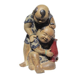 Golden Lotus - Chinese Handmade Ceramic Kid Playing Figure - This is an old hand made ceramic Chinese kids figure with natural earthy glaze. The facial expression of the kids is so lively and joyful.