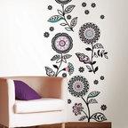 New for Back to School & Dorm Room Decor - Flroal Medley wall art kit retro mod flower wall decal stickers New for Back to School & Dorm Room Decor