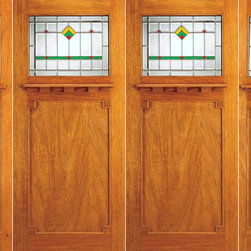 "Prehung Double Doors, 2-Sidelites, Glass Design - SKU#    AC-708-A_2-2-SBrand    AAWDoor Type    ExteriorManufacturer Collection    Arts and Crafts Front DoorsDoor Model    Door Material    Woodgrain    Veneer    Price    3640Door Size Options    2(36"")+2(18"") x 80"" (9'-0"" x 6'-8"")  $02(36"")+2(18"") x 84"" (9'-0"" x 7'-0"")  +$240Core Type    Door Style    Craftsman , MissionDoor Lite Style    1 LiteDoor Panel Style    1 PanelHome Style Matching    Craftsman , Prairie , Bungalow , Mission , Arts and CraftsDoor Construction    Prehanging Options    PrehungPrehung Configuration    Double Door with Two SidelitesDoor Thickness (Inches)    1.75Glass Thickness (Inches)    3/4Glass Type    Triple GlazedGlass Caming    BlackGlass Features    Beveled , Tempered , InsulatedGlass Style    Glass Texture    Glass Obscurity    Door Features    Door Approvals    FSCDoor Finishes    Door Accessories    Weight (lbs)    1190Crating Size    25"" (w)x 108"" (l)x 52"" (h)Lead Time    Slab Doors: 7 daysPrehung:14 daysPrefinished, PreHung:21 daysWarranty"