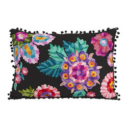 iMax - iMax Secret Garden Pillow X-91068 - Embroidered black cotton takes on a spicy look with the bold colored floral design in the Secret Garden pillow.