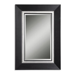 Uttermost - Uttermost Whitmore Black Vanity Mirror 14153 B - This wood frame has a matte black finish with an antiqued silver leaf inner liner accented with a gray glaze. Mirror is beveled.