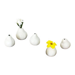 Kammika - 5 Piece Sets Decorative Ceramic Real Pear Mold Vases in Porcelain White Glossy F - Each individual vase in these 5 Piece Sets of Decorative Ceramic Pear Vases with Porcelain White Glossy Finish is approximately 3.5 inches in diameter and approximately 3.5 inches high. The sizes vary slightly in size and shape, just as the fruit from which the 5 different molds were created varied. Each set of 5 vases is securely packed and boxed in a very sturdy high quality re-shipper box approximately 8.5 x 8.5 x 6.5 inches; each boxed set of 5 weighs approximately 2.6 pounds. Whether set on a windowsill or arranged on a table as decor, these glazed, dimpled pear vases always bring a smile. Individually handcrafted and thoroughly endearing, they are designed to hold single-stem greenery or dried flowers. These accent items can help to set a room theme or to brighten an area with handmade Works of Functional Art. Natural and sustainable materials are worked by skilled artisans to create unique one of a kind pieces. Although, within a design, they may look similar, each is a unique functional work of art. These eco friendly functional art items are packaged in sets of 5 with cartons from recycled cardboard with no plastic or other fillers. As this is a natural product, the color and grain of your piece of functional art created from molds of actual fruit pieces will be unique. There may be some slight variation in size, color, texture, and finish color.Only listed product included.