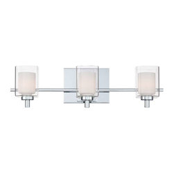 Quoizel - Quoizel 3 Light Kolt Bath Fixture in Polished Chrome - KLT8603C - This modern, posh collection features a simplistic design with a sleek polished chrome finish. The opal etched glass is encased with clear glass for a sophisticated and stunning look.
