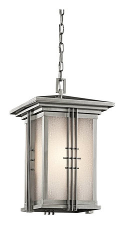 KICHLER - KICHLER 49161SS Portman Square Arts and Crafts/Mission Outdoor Hanging Light - The Arts and Crafts inspired Portman Square collection, in Olde Bronze over solid brass or Stainless Steel, incorporates elongated rectangle-shaped Etched Seedy glass highlighted by vertical metal banding. Contrasting rod crossbars make an elegant, yet simple statement.