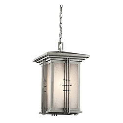 KICHLER - KICHLER Portman Square Arts and Crafts/Mission Outdoor Hanging Light X-SS16194 - Clean finishes give a stylish look to this Kichler Lighting outdoor hanging light. From the Portman Square Collection, the subtle blend of mission and Asian inspired lines compliment the modern look. An elegant Stainless Steel finish and etched seedy glass shade complete the look.