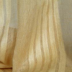 Linen Sheer Vertical Stripe Raffia Drapery in Champagne - Linen Sheer Vertical Stripe Raffia Drapery Fabric in Champagne. Striped fabric ideal for drapes, curtains, and other window treatments, or bed canopy.