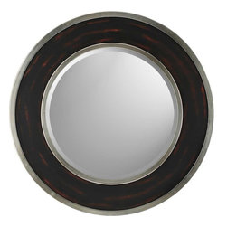 Paragon Decor - Round Aged Brown/Silver - Round mirror features silver edging with a dark wood rubbed finish face (mirror size:  22h x 22w).