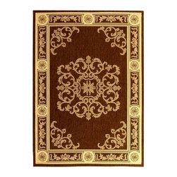 Safavieh - Rug in Chocolate with Natural Scrolled Design (2 ft. x 3 ft. 7 in.) - Size: 2 ft. x 3 ft. 7 in. Machine Made. Made of Polypropylene.