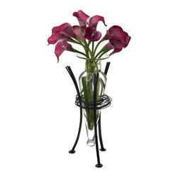 Danya B. - Clear Amphora Vase on Wire Wrap Metal Tripod Stand - Add an elegant detail to your home decor with this glass vase in a unique wire stand. This decorative accessory is made of recycled glass and iron with glass being easily removable for cleaning. Add your favorite bloom, single buds or small bouquet to this striking glass vase for a breathtaking focus piece.