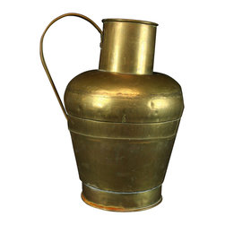 EuroLux Home - Large Consigned Vintage French Brass Pitcher Milk Jug - Product Details