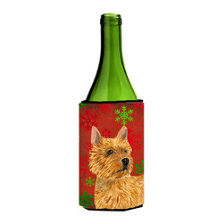 Caroline's Treasures - Norwich Terrier Red and Green Snowflakes Holiday Christmas Wine Bottle Koozie - Norwich Terrier Red and Green Snowflakes Holiday Christmas Wine Bottle Koozie Hugger Fits 750 ml. wine or other beverage bottles. Fits 24 oz. cans or pint bottles. Great collapsible koozie for large cans of beer, Energy Drinks or large Iced Tea beverages. Great to keep track of your beverage and add a bit of flair to a gathering. Wash the hugger in your washing machine. Design will not come off.