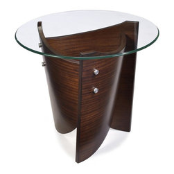 Magnussen Furniture - Round End Table in Cinnamon Finish - Contour Collection. Features 10 mm. tempered glass top and KD legs. Materials made of Sapele veneer, engineered wood, glass, metal and stainless steel pucks . Top: 24 in. W x 24 in. D x 0.39 in. H. Base: 18 in. W x 18 in. D x 23 in. HThe Contour table collection combines graceful curves and artful modern styling.  Circular tempered glass tabletop and a unique base of Sapele veneer in a cinnamon finish combine to create this contemporary look.