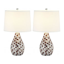 Safavieh - Celestiel Table Lamp, Set of 2 - Fresh as an ocean breeze, the Celestiel lamp adds just the right touch of glimmer beside of sumptuously decorated a bed, or sophisticated sofa or chair. Crafted of natural capiz shell in tones of brown and mother of pearl, the gourd-shaped base is accented with silver-finished metal neck and white hard back cotton shade.