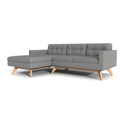 "True Modern - Luna Sofa with Chaise, Dolphin - ""Chaise"" things up with this sofa sectional. It has a soft retro feel, thanks to the button tufting on the back cushions. And, it's perfectly proportioned for smaller spaces, making it a good fit if you live in a condo or apartment or want to use it in a den."