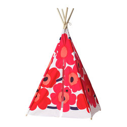 Teepeedees - Kids' Tepee, Marimekko Unikko Poppy - Crafted from Marimekko's bright and cheery Unikko fabric, this kid's teepee is a riotous celebration of youth. This play tent also features an elastic closure, trimmed with an imported black nylon button.