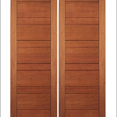 """AAW Inc. - Contemporary Interior Rubi Doors - These are our Contemporary Rubi Doors.  This door has Wood Panels. They are a perfect and affordable choice for any contemporary or modern home.  Doors are made of FSC Certified Brazilian Mahogany.  80"""" tall doors have 4 Glass Panels and 96"""" tall doors have 5 Glass Panels. Matching Exterior doors can be found on our website ( RB-08 and RB-10)"""