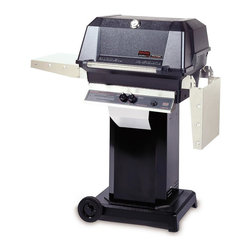 MHP Grills - 40000 BTU LP Gas Grill Head w Black Column & Cart Base - Includes 40000 BTU LP gas grill head, column and cart base. 40000 BTU LP gas grill head:. Total cooking area: 642 sq. in.. 40,000 BTU rated per-hour input. 0.31 in. 2-Piece stainless steel cooking grid. Stainless steel swing-away warming rack. High profile lid to handle all rotisserie functions, accommodating large cuts of meats and big Tom turkeys . Stainless steel fold down shelves. Column:. Includes stainless steel access door, stainless steel grease cup and conceals propane tank. 1-Piece black aluminum column. Made of Stainless Steel. Cart base:. Includes 12 ft. hose with quick disconnect coupler. 2-Wheel portable base. Portable base with 6 in. rubber wheels. Black powder painted cast aluminum. Available in propane or natural gas cart base. Lifetime warranty on all grill housing, mounting, burners, cooking grids and warming racks. 5-Year warranty on infrared burners, venturi tubes and flavor master briquettes. 1-Year warranty on all other components. Assembly required
