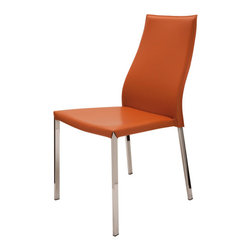 Set of 4 Eric Leather Ochre Dining Chairs - These dining chairs by Nuevo is part of their Eric collection and comes in a ochre finish.