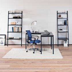 Golia Office - Gola Desk & Return, Leaning Bookcases, Barrier Desk Chair, Park Table Lamp