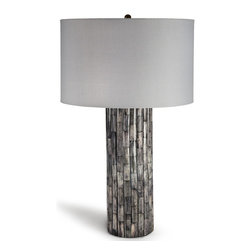 Kathy Kuo Home - Yehuda Global Bazaar Grey Bone Mosaic Table Lamp - Weathered bone is layered in a scalloped pattern around the rising pedestal of this table lamp. Intriguing and elegant, unique shades of grey delicately decorate the classic column. A crisp, white drum shade tops off this eclectic creation.