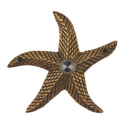 Waterwood - Brass Starfish Doorbell in Antique Brass - The Waterwood Starfish doorbell creates a seaside motif at your door. Displaying this doorbell will help you project a spirit of relaxed living from the front door of your home. This solid brass doorbell is crafted using the sand casting technique. It is then hand finished and coated with a protective laquer to withstand the elements. Waterwood doorbells are easy to install and will add personality to your home. It comes with a lighted push button and mounting screws.