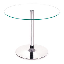 Zuo Modern - Galaxy Dining Table Clear Glass - Your classic round dining table gets a modern update with a clear tempered glass top and a chromed steel tube center and base. The Galaxy dining table brings modern class to any eating area: kitchen, dining, or break rooms.