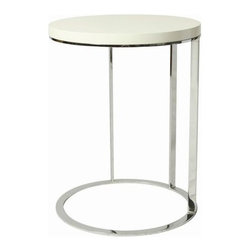 """Pastel Furniture - Pastel Furniture Metro 18 Inch Round End Table in White - The Metro end table is a simple yet elegant design that can add that stylish and modern flair to your living area. This 18"""" round end table comes in either black or white high gloss top with chrome base."""